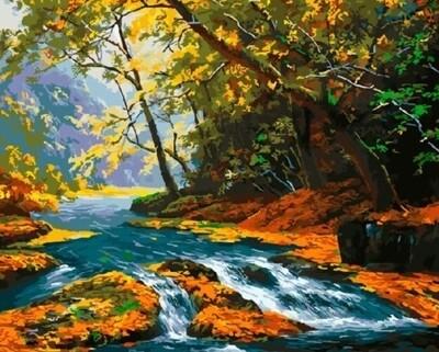 Картина по номерам, 40х50см RADUGA Ручей в лесу, RDG-2026