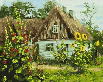 "Картины по номерам 40х50см ""Дом и подсолнухи"" ВанГогВоМне, ZX 22357"