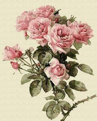 """Картины по номерам 40х50см """"Веточка розы"""" ВанГогВоМне, ZX 22360"""