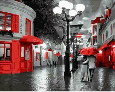 """Картины по номерам 40х50см """"Прогулка под красным зонтом"""" ВанГогВоМне, ZX 23017"""