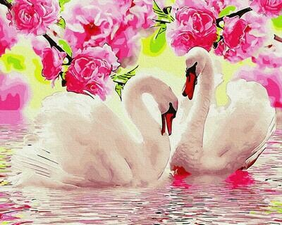 """Картины по номерам 40х50см """"Лебеди в розовом цвету"""" ВанГогВоМне, ZX 23805"""