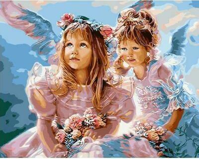 "Картины по номерам 40х50см ""Ангелы-сестрички"" ВанГогВоМне, ZX 23067"