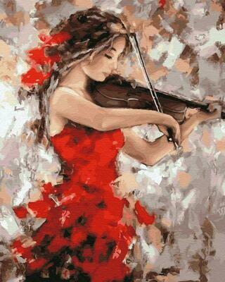 "Картины по номерам 40х50см ""Девушка со скрипкой"" ВанГогВоМне, ZX 23307"