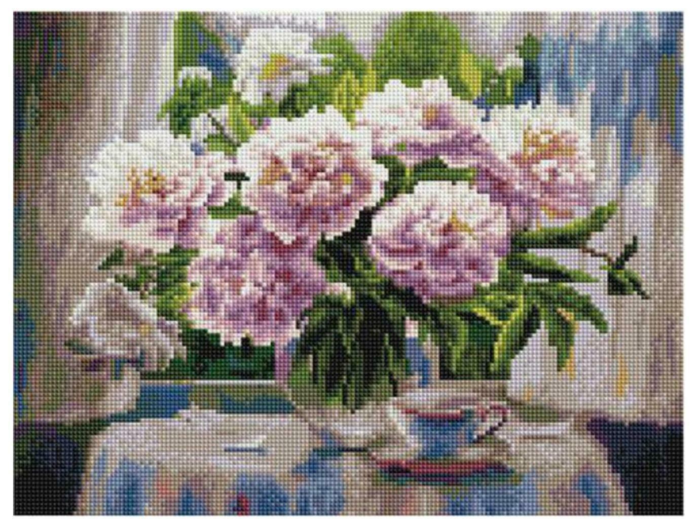 Алмазная мозаика Paintboy ACPK 79010 Белые пионы (Воробьёва Ольга) 30*40
