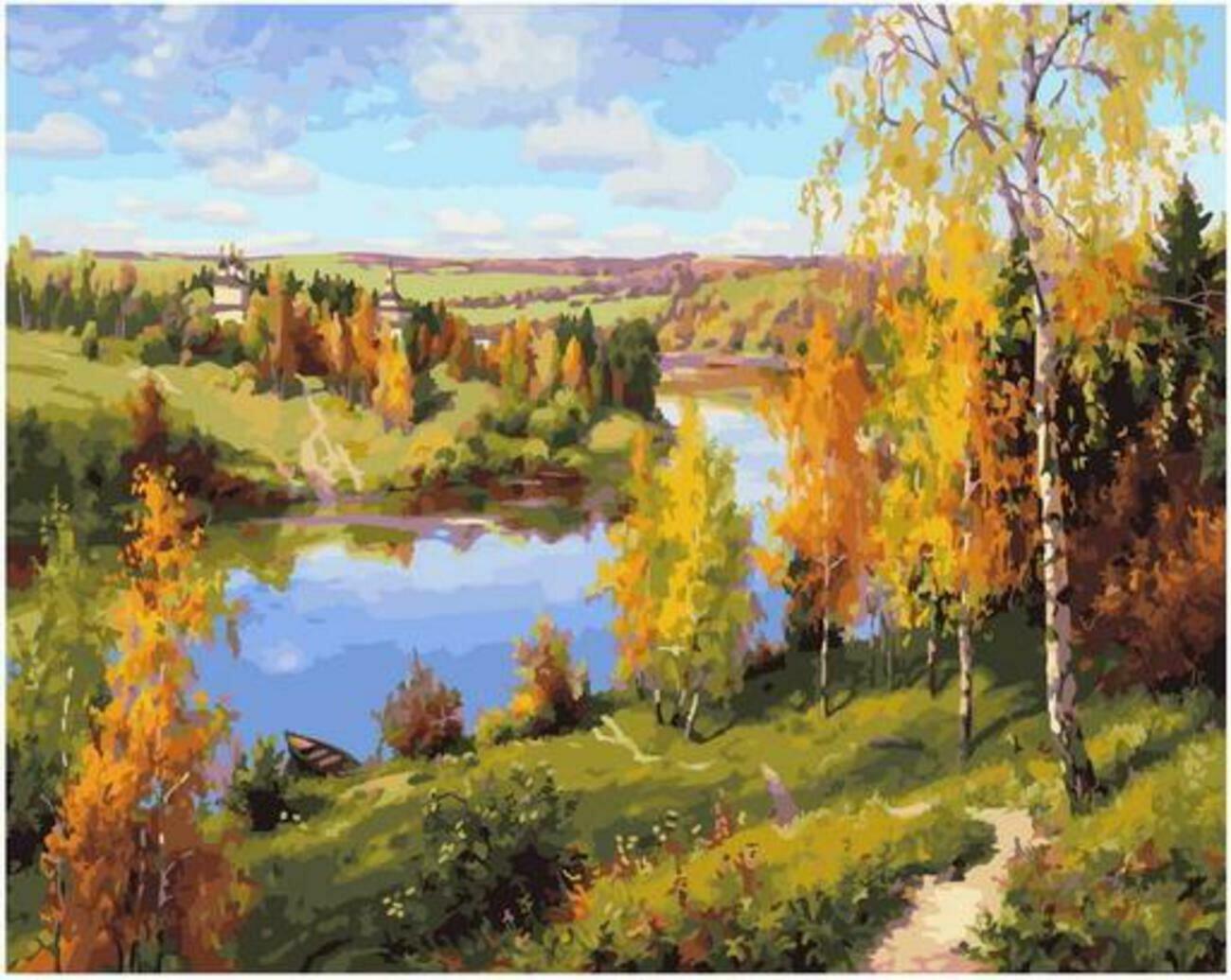 Картина по номерам Paintboy Original PK 90014 Осень. Глубинка (Прищепа Игорь) 40x50см