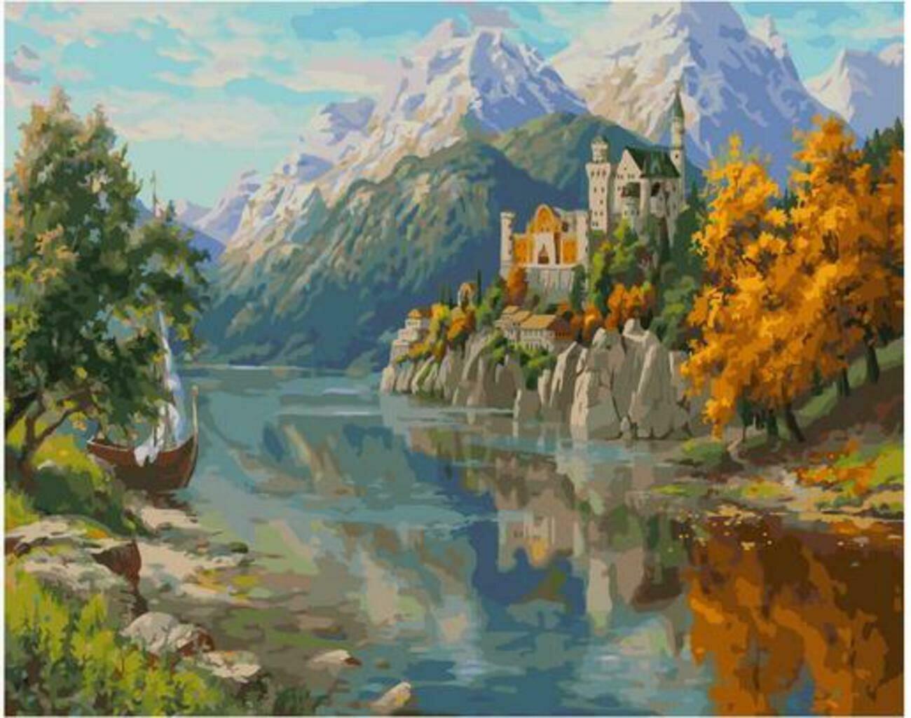 Картина по номерам Paintboy Original PK 90032 Замок в горах (Прищепа Игорь) 40x50см
