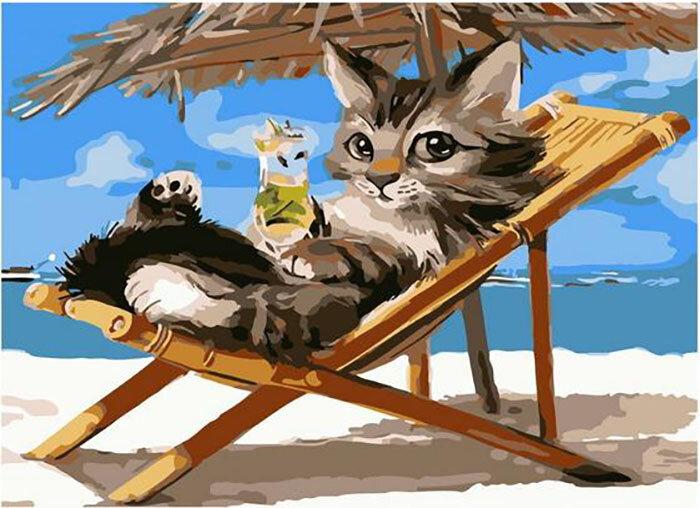 Картина по номерам Paintboy Original PKC 72076 Отдых на пляже 30*40