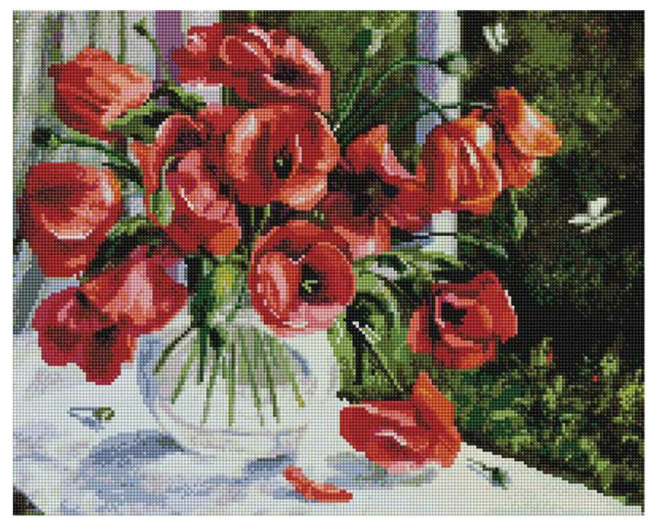 Алмазная мозаика Paintboy APK 79030 Маки на окне (Воробьёва Ольга) 40x50см