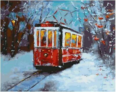 Картина по номерам Paintboy Original GX 38181 Морозное утро в трамвае 40x50см