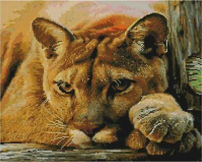 Алмазная мозаика Paintboy GF 4266 Задумчивая львица 40x50см