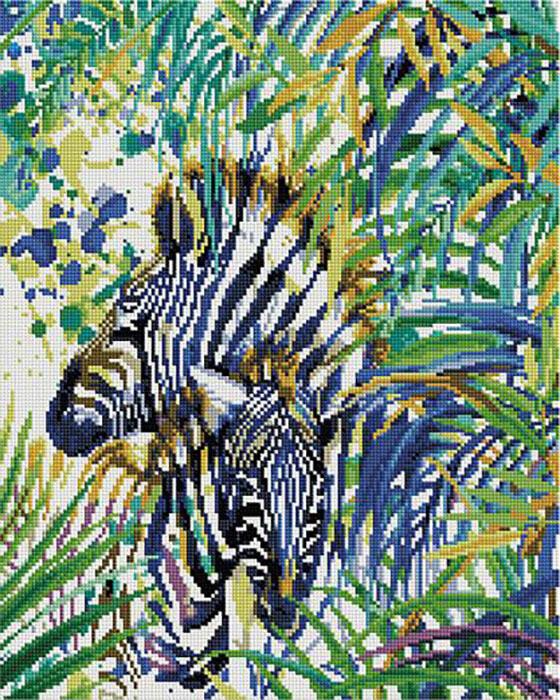 Алмазная мозаика Paintboy APK 22052 Зебра в тропиках (Фаенкова Елена) 40x50см