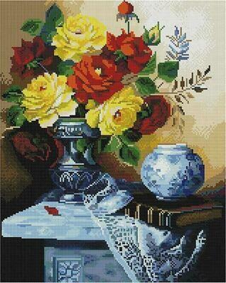 Алмазная мозаика Paintboy GF 4479 Цветочный натюрморт на столике 40x50см