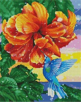 Алмазная мозаика Paintboy GF 4699 Колибри у прекрасного цветка 40x50см