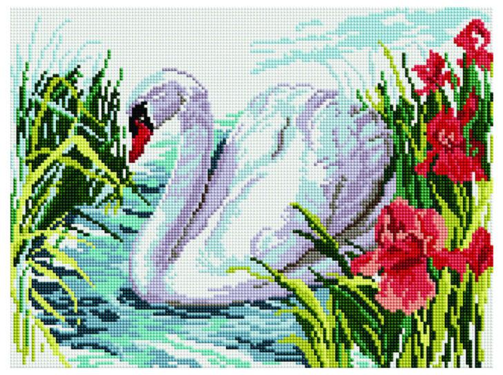 Алмазная мозаика Paintboy EF 366 Белый лебедь на пруду 30*40