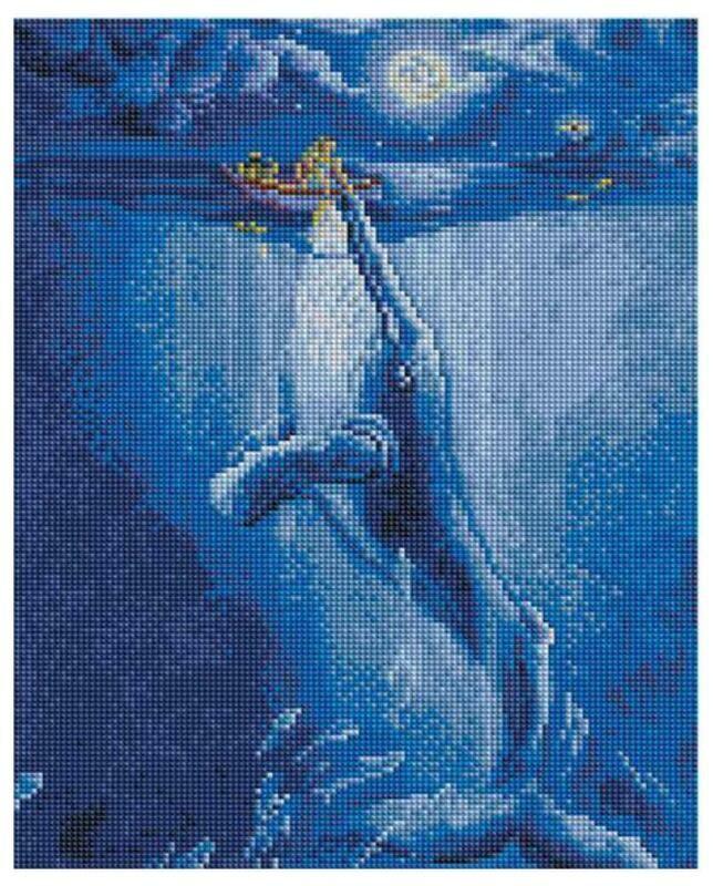 Алмазная мозаика Paintboy ACPK 79059 Встреча с китом в полнолуние (Ольховая Юлия) 30*40