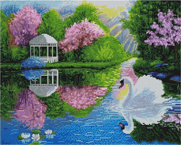 Алмазная мозаика Paintboy GF 4218 Лебедь в садовом пруду 40x50см