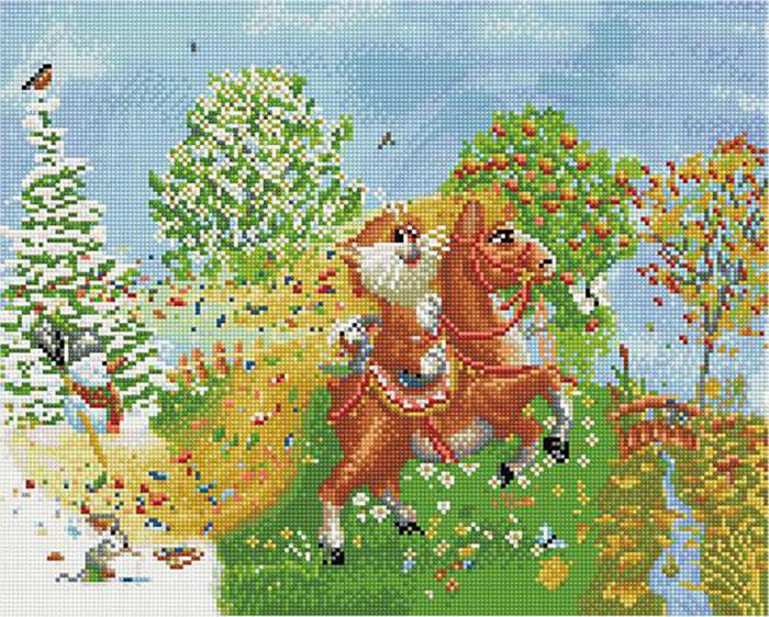 Алмазная мозаика Paintboy кругл. QAPK 76001 На коне (Долотов Алексей) 40x50см