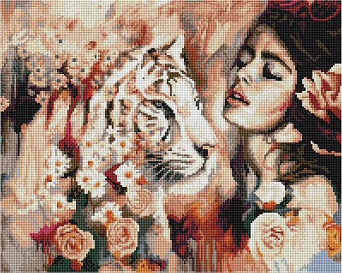 Алмазная мозаика Paintboy GF 4495 Жасмин с тигром в цветах 40x50см