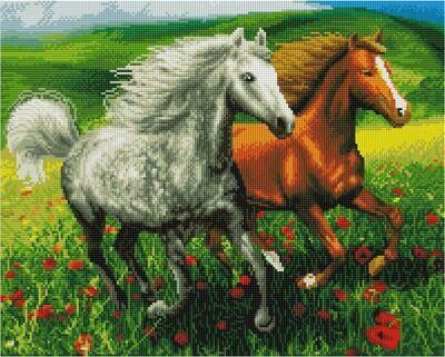 Алмазная мозаика Paintboy GF 4249 Лошади в маковом поле 40x50см