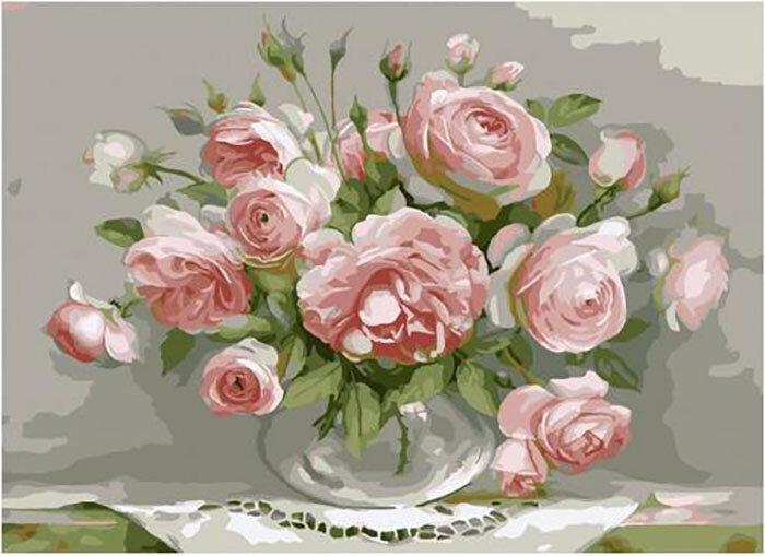 Картина по номерам PKC 76026 Розы в стеклянной вазочке (Бузин Игорь) 30*40