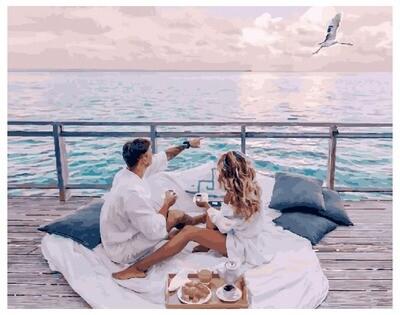 Картина по номерам GX 30403 Ранний завтрак у моря 40*50