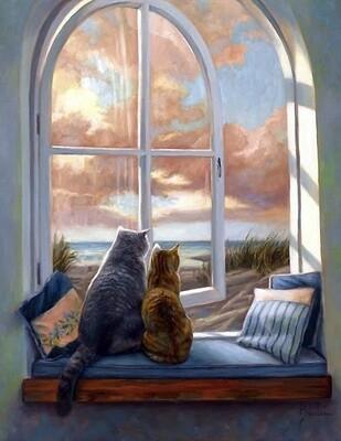 """Картина по номерам Paintboy GX22048 """"Кошки на окне"""" 40х50см"""