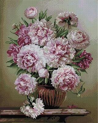 Алмазная мозаика Paintboy APK 59016 Букет на мраморном столике (Бузин Игорь) 40x50см