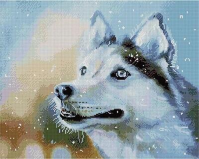 Алмазная мозаика Paintboy APK 59006 Снежный/Собака (Логинова Аннет) 40x50см