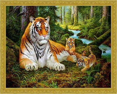 Алмазная мозаика Paintboy WB 5791 Тигриная семья 40x50см