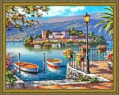 Алмазная мозаика Paintboy WB 2939 Городской причал 40x50см