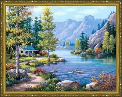 Алмазная мозаика Paintboy WB 6325 Домик у озера 40x50см