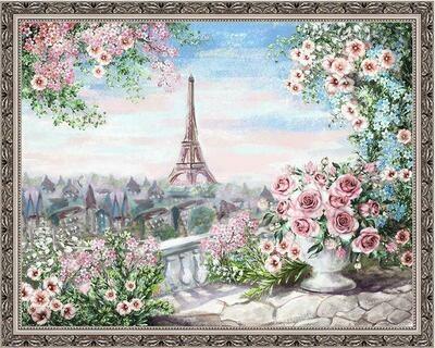 Алмазная мозаика Paintboy WB 2125 Вид из парижского сада 40x50см