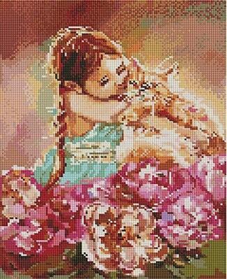 Алмазная мозаика Paintboy ACPK 59003 Мой милый рыжик/ Девочка с котом (Логинова Аннет) 30х40см