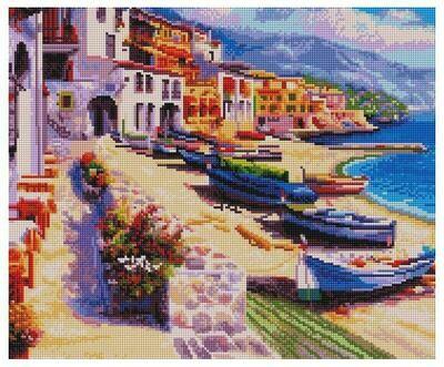 Алмазная мозаика Paintboy GF 4238 Лодки на песчаном берегу 40x50см
