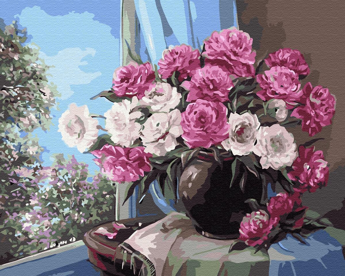Картина по номерам Paintboy GX9406, Пионы в вазе 40х50см