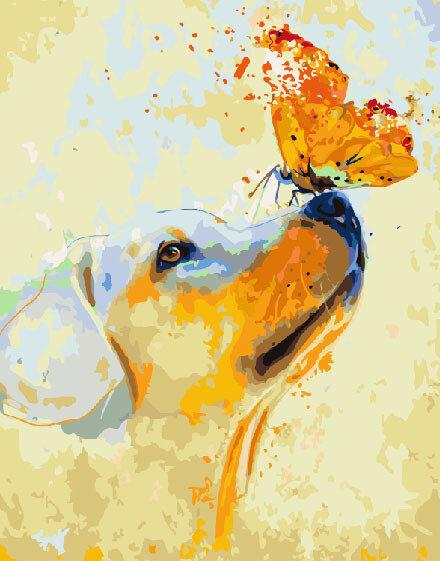 Картина по номерам Paintboy GX9057, Золотистый ретривер 40х50см