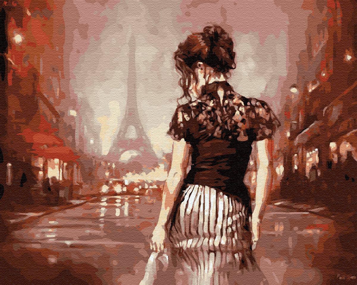 Картина по номерам Paintboy GX9177, Одинокая девушка в Париже 40х50см
