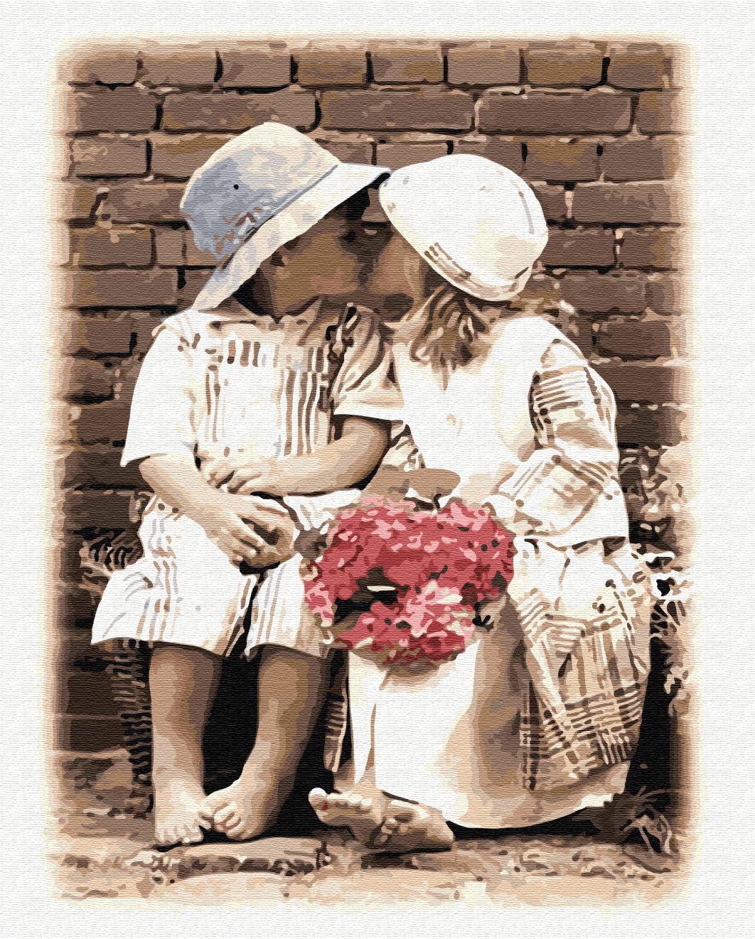 Картина по номерам Paintboy GX8599, Детский поцелуй 40х50см