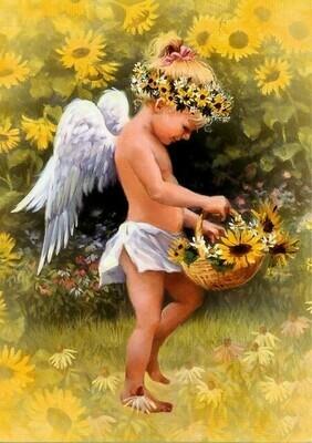 Картина по номерам 40x50см - Ангелок с корзинкой