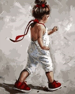 Картина по номерам 40x50см - Девочка в красных ботинках