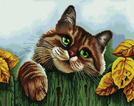 Алмазная мозаика 40x50 - Счастливый кот