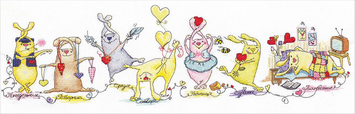 """Набор для вышивания """"PANNA"""" VK-1131 """"Неделя влюбленного зайца"""" 62x21 см"""