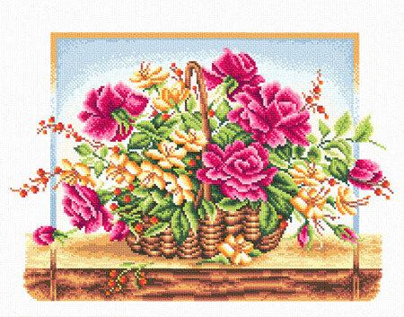 """Набор для вышивания """"PANNA"""" C-0114 """"Корзина с розами"""" 36,5x25,5 см"""