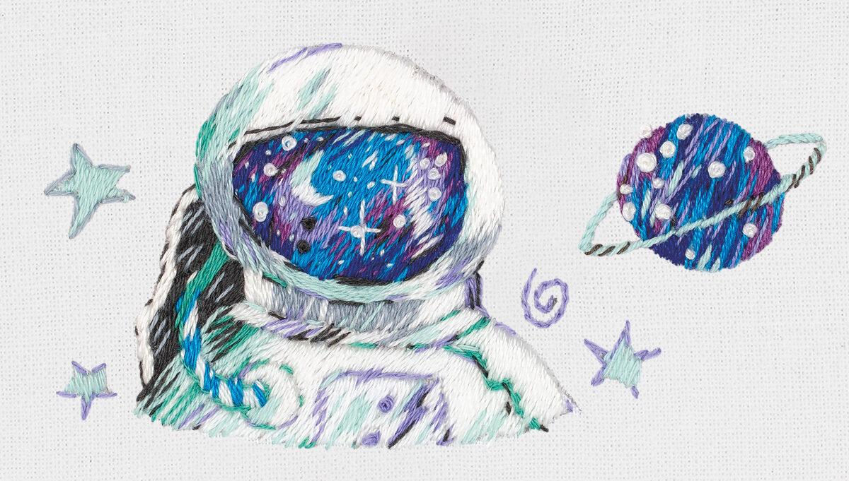 """Набор для вышивания """"PANNA"""" """"Живая картина"""" JK-2209 """"Космонавт"""" 6.5x4.5 см"""
