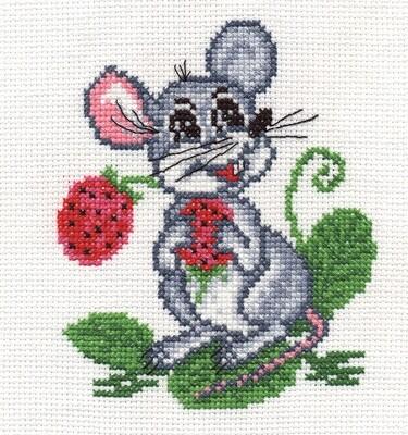 """Набор для вышивания """"PANNA"""" D-0106 """"Мышка с земляникой"""" 14x16 см"""