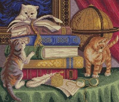 """Набор для вышивания """"PANNA"""" J-1053 ( Ж-1053 ) """"Котята с книгами"""""""