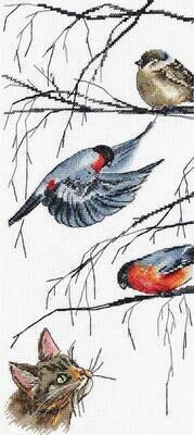"""Набор для вышивания """"PANNA"""" J-7129 """"Любопытный кот и птички"""""""