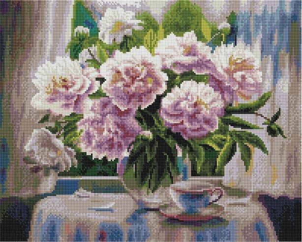 Алмазная мозаика APK 79010 Белые пионы (Воробьёва Ольга) 40*50