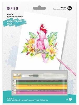 """""""ФРЕЯ"""" RPSA-0011 """"Австралийский розовый какаду"""" Скетч для раскраш. акварельными карандашами 29.7 х 21 см 1 л."""