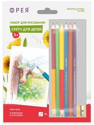 """""""ФРЕЯ"""" RPSK-0028 """"В ромашках"""" Скетч для раскраш. цветными карандашами 21 х 14.8 см 1 л."""